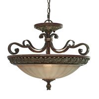 Golden Lighting Bristol Place 3 Light Convertible Semi-Flush in New World Bronze with Fleur De Lille Glass 2501-SF-NWB