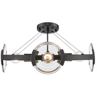 Golden Lighting 2635-4SF-BLK-AB Amari 4 Light 19 inch Black with Aged Brass Semi-Flushmount Ceiling Light Convertible