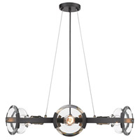 Golden Lighting 2635-6-BLK-AB Amari 6 Light 27 inch Black with Aged Brass Accents Chandelier Ceiling Light