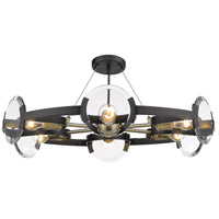 Golden Lighting 2635-6SF-BLK-AB Amari 6 Light 27 inch Black with Aged Brass Semi-Flushmount Ceiling Light, Convertible