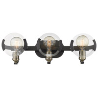 Golden Lighting 2635-BA3-BLK-AB Amari 3 Light 23 inch Black with Aged Brass Accents Bath Vanity Wall Light