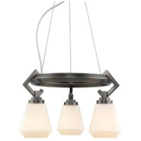 Golden Lighting 2712-3 AS-OP Hollis 3 Light 17 inch Aged Steel Mini Chandelier Ceiling Light