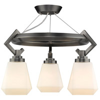 Golden Lighting 2712-3SF-AS-OP Hollis 3 Light 17 inch Aged Steel Semi-Flushmount Ceiling Light, Convertible