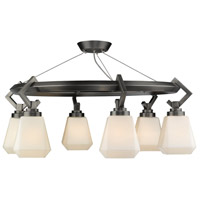 Golden Lighting 2712-6SF-AS-OP Hollis 6 Light 29 inch Aged Steel Semi-Flushmount Ceiling Light, Convertible thumb