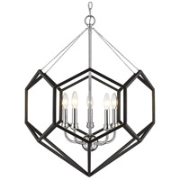 Golden Lighting 2918-5-CH-BLK Damina 5 Light 24 inch Chrome and Black Chandelier Ceiling Light
