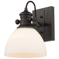 Golden Lighting 3118-BA1-RBZ-OP Hines 1 Light 7 inch Rubbed Bronze Bath Vanity Light Wall Light