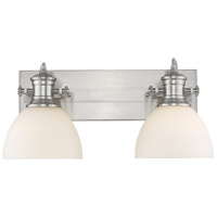 Golden Lighting 3118-BA2-PW-OP Hines 2 Light 18 inch Pewter Bath Fixture Wall Light