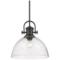 Golden Lighting 3118-L-RBZ-SD Hines 1 Light 14 inch Rubbed Bronze Pendant Ceiling Light Convertible