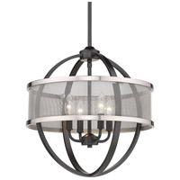 Golden Lighting 3167-4P-BLK-PW Colson BLK 4 Light 17 inch Matte Black Chandelier - Mini Ceiling Light
