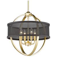 Golden Lighting 3167-4P-OG-BLK Colson 4 Light 17 inch Olympic Gold Chandelier - Mini Ceiling Light in Matte Black