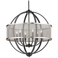 Golden Lighting 3167-6-BLK-PW Colson 6 Light 27 inch Matte Black Chandelier Ceiling Light in Pewter