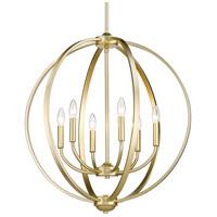 Golden Lighting 3167-6-OG Colson 6 Light 26 inch Olympic Gold Chandelier Ceiling Light in No Shade