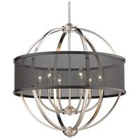 Golden Lighting 3167-6-PW-BLK Colson 6 Light 27 inch Pewter Chandelier Ceiling Light in Matte Black