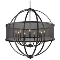 Golden Lighting 3167-9-BLK-BLK Colson 9 Light 33 inch Matte Black Chandelier - Large Ceiling Light