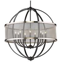 Golden Lighting 3167-9-BLK-PW Colson 9 Light 33 inch Matte Black Chandelier - Large Ceiling Light in Pewter