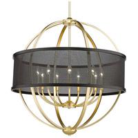 Golden Lighting 3167-9-OG-BLK Colson 9 Light 33 inch Olympic Gold Chandelier - Large Ceiling Light in Matte Black