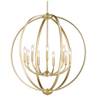 Golden Lighting 3167-9-OG Colson 9 Light 31 inch Olympic Gold Chandelier - Large Ceiling Light in No Shade