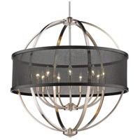 Golden Lighting 3167-9-PW-BLK Colson 9 Light 33 inch Pewter Chandelier - Large Ceiling Light in Matte Black