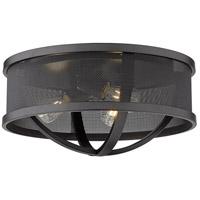 Golden Lighting 3167-FM15-BLK-BLK Colson 3 Light 15 inch Matte Black Flush Mount - Damp Ceiling Light