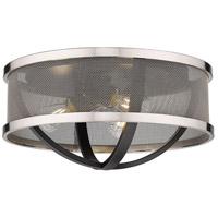 Golden Lighting 3167-FM15-BLK-PW Colson 3 Light 15 inch Matte Black Flush Mount - Damp Ceiling Light in Pewter