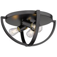 Golden Lighting 3167-FM15-BLK Colson 3 Light 14 inch Matte Black Flush Mount - Damp Ceiling Light in No Shade