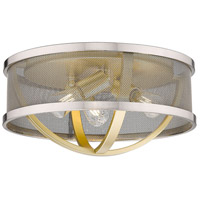 Golden Lighting 3167-FM15-OG-PW Colson OG 3 Light 15 inch Olympic Gold Flush Mount - Damp Ceiling Light