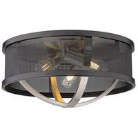Golden Lighting 3167-FM15-PW-BLK Colson 3 Light 15 inch Pewter Flush Mount - Damp Ceiling Light in Matte Black