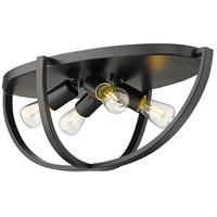 Golden Lighting 3167-FM24-BLK Colson 4 Light 23 inch Matte Black Flush Mount - Damp Ceiling Light in No Shade