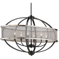 Golden Lighting 3167-LP-BLK-PW Colson 6 Light 36 inch Matte Black Linear Pendant Ceiling Light in Pewter