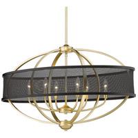 Golden Lighting 3167-LP OG-BLK Colson 6 Light 36 inch Olympic Gold/Matte Black Linear Pendant Ceiling Light