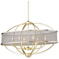 Golden Lighting 3167-LP-OG-PW Colson 6 Light 36 inch Olympic Gold Linear Pendant Ceiling Light in Pewter