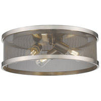 Golden Lighting 3168-FM15 PW-PW Channing 3 Light 15 inch Pewter Flush Mount Ceiling Light