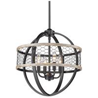 Golden Lighting 3170-4P-BLK-CW Roost 4 Light 17 inch Matte Black Chandelier - Mini Ceiling Light