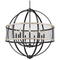 Golden Lighting 3170-9-BLK-CW Roost 9 Light 33 inch Matte Black Chandelier - Large Ceiling Light