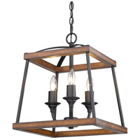 Golden Lighting 3184-3P NB-RO Teagan 3 Light 15 inch Natural Black Pendant Ceiling Light in Rustic Oak Wood Accents