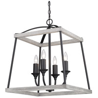 Golden Lighting 3184-4P NB-GH Teagan 4 Light 19 inch Natural Black Pendant Ceiling Light in Gray Harbor Wood Accents