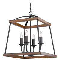 Golden Lighting 3184-4P NB-RO Teagan 4 Light 19 inch Natural Black Pendant Ceiling Light in Rustic Oak Wood Accents