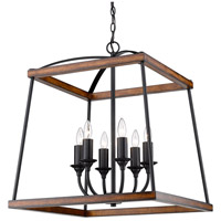 Golden Lighting 3184-6P NB-RO Teagan 6 Light 23 inch Natural Black Pendant Ceiling Light in Rustic Oak Wood Accents