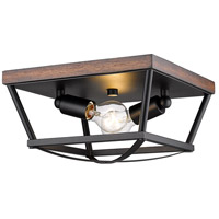 Golden Lighting 3184-FM-NB-RO Teagan 2 Light 12 inch Natural Black Flush Mount - Damp Ceiling Light