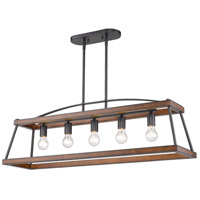 Golden Lighting 3184-LP NB-RO Teagan 5 Light 40 inch Natural Black Linear Pendant Ceiling Light in Rustic Oak Wood Accents