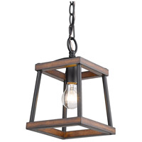 Golden Lighting 3184-M1L NB-RO Teagan 1 Light 8 inch Natural Black Mini Pendant Ceiling Light in Rustic Oak Wood Accents
