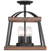 Golden Lighting 3184-SF-NB-RO Teagan 3 Light 12 inch Natural Black Semi-flush - Damp Ceiling Light