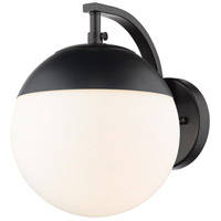 Golden Lighting 3218-1W-BLK-BLK Dixon 1 Light 8 inch Black Wall Sconce Wall Light in Opal Glass