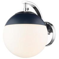 Golden Lighting 3218-1W-CH-MNVY Dixon CH 1 Light 8 inch Chrome Sconce - Damp Wall Light in Opal Glass Matte Navy