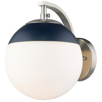 Golden Lighting 3218-1W-PW-MNVY Dixon PW 1 Light 8 inch Pewter Sconce - Damp Wall Light in Opal Glass Matte Navy