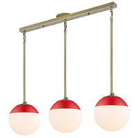 Golden Lighting 3218-3LP-AB-RED Dixon 3 Light 29 inch Aged Brass Linear Pendant Ceiling Light