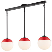 Golden Lighting 3218-3LP-BLK-RED Dixon 3 Light 29 inch Matte Black Linear Pendant Ceiling Light