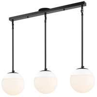 Golden Lighting 3218-3LP-BLK-WHT Dixon 3 Light 29 inch Matte Black Linear Pendant Ceiling Light