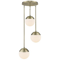 Golden Lighting 3218-3P-AB-AB Dixon 3 Light 13 inch Aged Brass Pendant Ceiling Light
