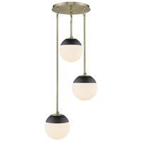 Golden Lighting 3218-3P-AB-BLK Dixon 3 Light 13 inch Aged Brass Pendant Ceiling Light